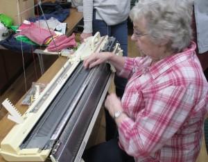 Frances demonstrating hand manipulated pattern